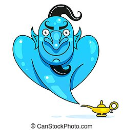 Lamp Aladdin With Gin, The Magic Lamp Of Aladdin. Vector...