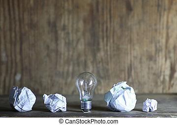 lamp and crumpled paper - very significant concept of energy...