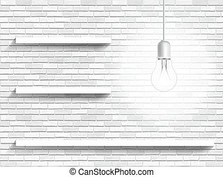 lamp and shelves on the brick wall