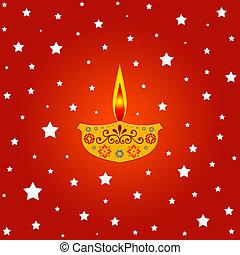 Lamp and stars - Indian diwali festival illustration