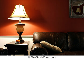 Close up on a Lamp and the Coush in a House