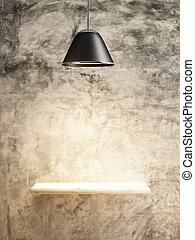 lamp and wood shelf on the concrete wall of interior conception