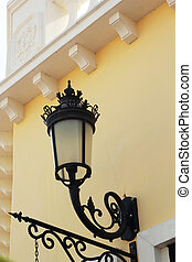Lamp attached to a side wall.