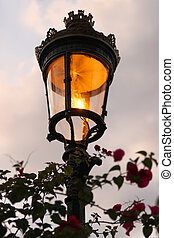 lamp, avond, oud, straat, fashioned