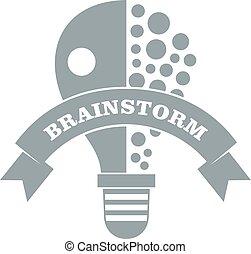 Lamp brain storm logo, simple gray style