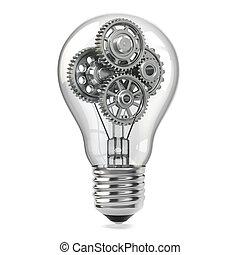 Lamp bulb and gears. Perpetuum mobile idea concept. 3d