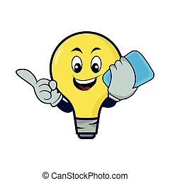 Lamp bulb cartoon character with phone. Design template vector