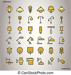 Lamp Color Line Icons perfect pixel.