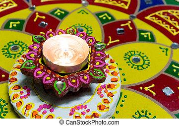 Lamp (diya) for diwali - Lamp (diya) that is lit to...
