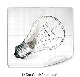 Lamp drawing, vector
