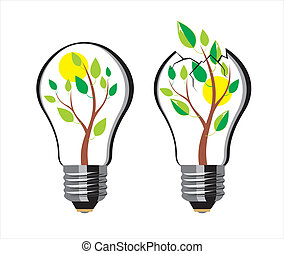 Lamp - tree bursts out of the bulb, vector