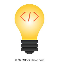 Lamp flat icon. Light bulb color icons in trendy flat style. Lamp with punctuation marks gradient style design, designed for web and app. Eps 10.