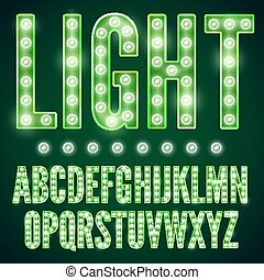Lamp font - Green neon alphabet font with show lamps, vector...