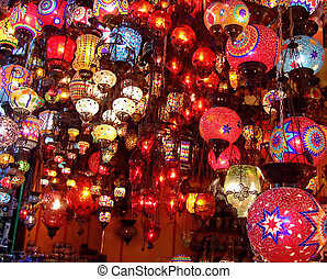 Bunch of colorful lamp handicrafts in the shop