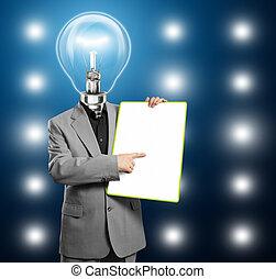 Lamp Head Business Man With Empty Write Board - Lamp head ...