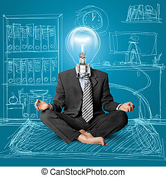 lamp-head businessman in lotus pose meditating at the office
