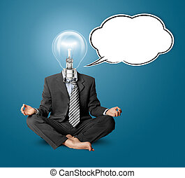 lamp-head businessman in lotus pose with speech bubble