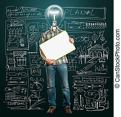 lamp head businessman with empty write board - lamp head ...