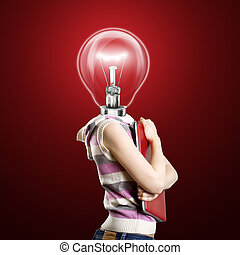 Lamp Head Businesswoman with Laptop