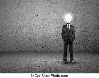 lamp-head, hombre