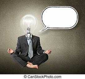 lamp-head, lotus maniertje, gedachte, zakenman, bel