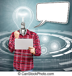 Lamp Head Man With Touch Pad - Social network idea concept....
