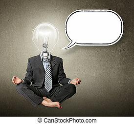 lamp-head, pose lotus, pensamento, homem negócios, bolha