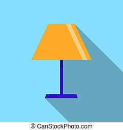 lamp icon on the blue background with long shadow, Flat design