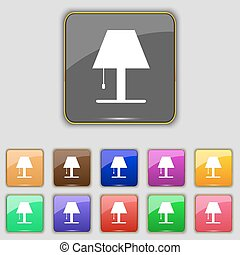 Lamp icon sign. Set with eleven colored buttons for your site. Vector