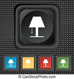 Lamp icon sign. symbol Squared colourful buttons on black texture. Vector