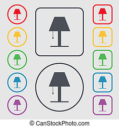 Lamp icon sign. Symbols on the Round and square buttons with frame.