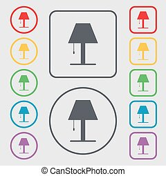 Lamp icon sign. Symbols on the Round and square buttons with frame. Vector