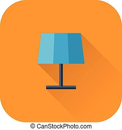 Lamp icon. Vector. Flat design with long shadow.