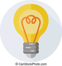 Lamp icon with long shadow for web design