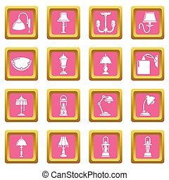Lamp icons set pink square