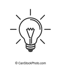 lamp idea flat icon, Black line white background, Vector illustration