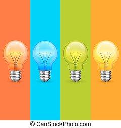 Lamp idea icon set, object light.