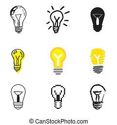 lamp idea icons set