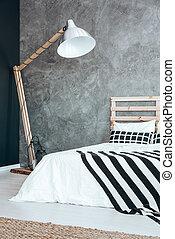 Lamp in dark bedroom