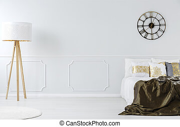 Lamp in hotel bedroom