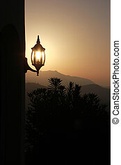 lamp in the morning with backlight