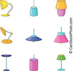 Lamp light icons set, cartoon style