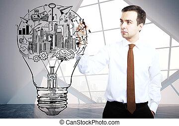 lamp, man, tekening, zakenbeelden
