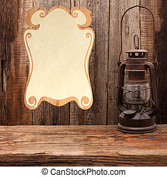 lamp oil lantern certificate old wooden table wall