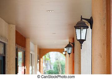 Lamp on a pole