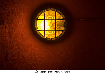 Lamp on a wall.