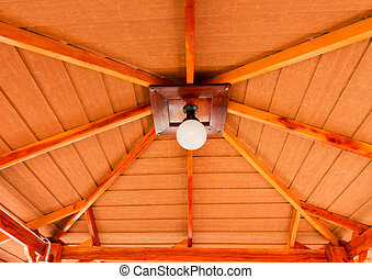 lamp on a wooden ceilings