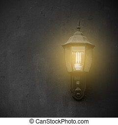 Lamp on cement wall