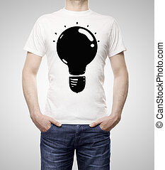 lamp on t-shirt - man with drawing lamp on t-shirt