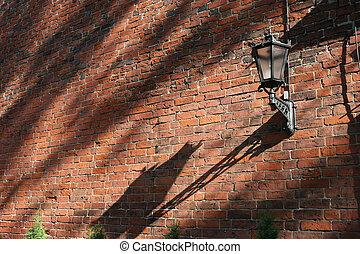 Lamp on the brick wall